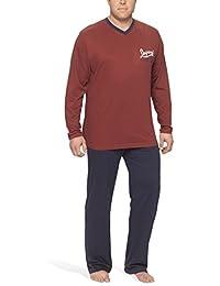 Moonline Plus - Schlafanzug Herren Übergroße aus Baumwolle, langer Pyjama für Männer (zweiteilig, in großen Größen)