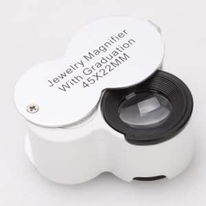 9583 LED Currency Detecting and Jewelry Appraisal Magnifier With Graduation Silver + White