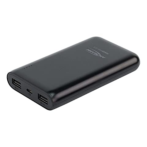 ANSMANN Powerbank 10.800mAh Externer Zusatzakku mit 2 USB-Ports geeignet für Smartphones und Tablets von Apple, Samsung, HTC, Huawei, Nokia, Blackberry, Surface, Windowsphone, Asus, Acer, Lenovo, Pixel, etc. (Output: 2x USB - 5V DC / bis zu 2400mA) sicheres mobiles Laden