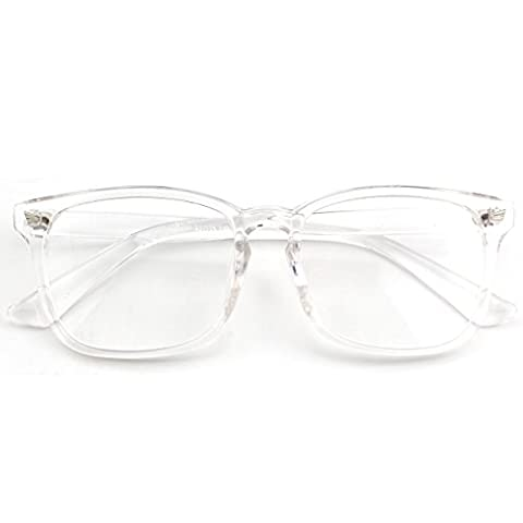 CGID CN82 Large Oversized Bold Frame UV 400 Clear Lens Horn Rimmed Glasses,Transparent