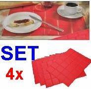 Tisch SET 4 tlg., Tisch Küchen Wohn Ess Zimmer Platz Deckchen Decke Unterleger (LHS)