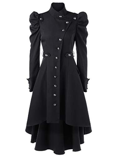 CuteRose Women Military Jackets Stand-up Collar Puff Sleeve Outwear Trench Black S Black Double-breasted Peacoat
