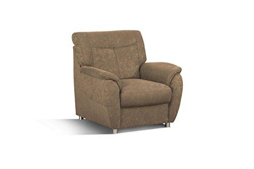 Cavadore Sessel Sunuma / Brauner Polstersessel mit Federkern passend zur Couch Sunuma / Modernes Design / Größe: 95 x 91 x 90 cm (BxHxT) / Farbe: Braun