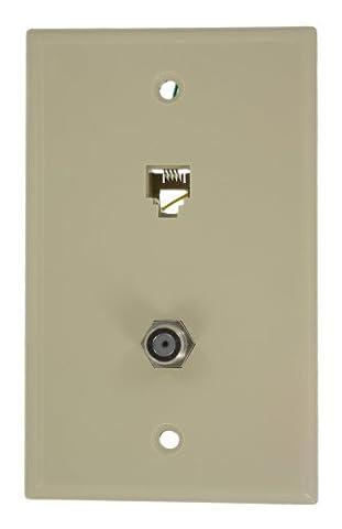 Leviton 40259-I Standard Telephone Wall Jack, 6P4C X F, Screw Terminal, Ivory