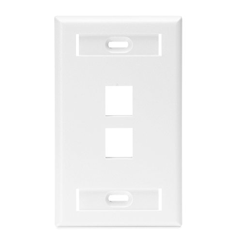 Leviton QuickPort Wallplate, 1-Gang, 2-Port with ID Window, White Leviton Faceplates