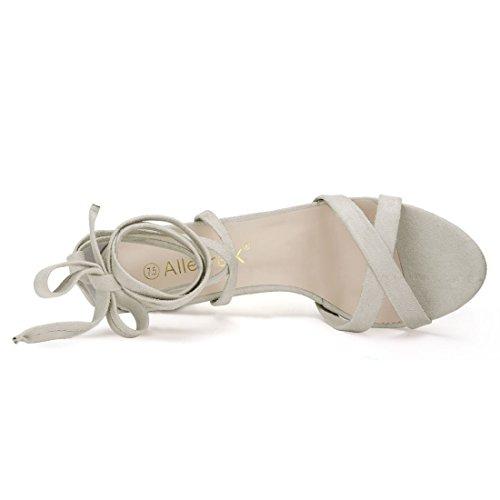 Allegra K donne punta aperta Lace-Up Blocco alto Sandali con tacco CI Nero 11 Gray