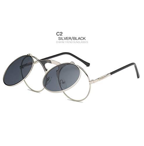 Wang-RX Klassische vintage runde sonnenbrille männer linsen flip metallrahmen spiegel brille retro steam frauen sonnenbrille