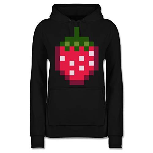 Erdbeere Kostüm Damen - Shirtracer Karneval & Fasching - Pixel Erdbeere - Karneval Kostüm - L - Schwarz - JH001F - Damen Hoodie
