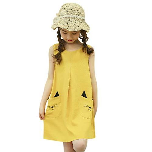 LEXUPE Teen Kinder Baby Mädchen ärmellose Cartoon Kitty Tasche Prinzessin Kleid Outfits Set(Gelb,130)