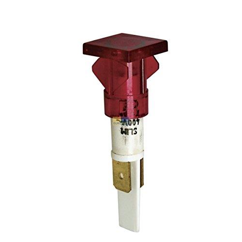 Kontrolllampe rot eckiger Kopf 16x16mm runder Körper 1-polig 230V Haushaltsgeräte