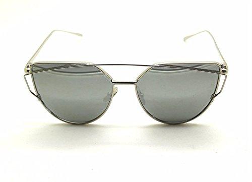 Arbeiten Sie Frauen Katzenaugen Sonnenbrille Klassische Marken Designer Twin Beams Sonnenbrille Dame Beschichtung Spiegel Flat Panel Objektiv Gläser (Gold Rahmen / Silber Linse)