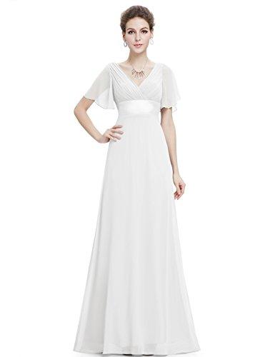 Ever Pretty Robe de soirée en double V-col et manches courtes 09890 Blanc