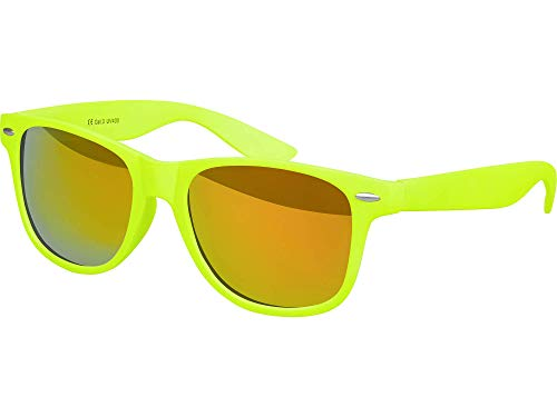 Balinco Hochwertige Nerd Sonnenbrille Rubber im Wayfarer Stil Retro Vintage Unisex Brille mit Federscharnier - 96 verschiedene Farben/Modelle wählbar (Neongelb - Rot/Orange verspiegelt)