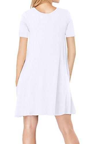 YMING Damen Casual Langes Shirt Lose Tunika Kurzarm T-Shirt Kleid 24 ... b2451c4d66