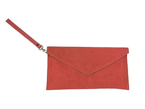 scarlet bijoux Damen Clutch Tasche Unterarmtasche Abendtasche Umhängetasche lachs ca.31,5 x 16,5 x 1,0 cm (B x H x T) (Lachs Echter)