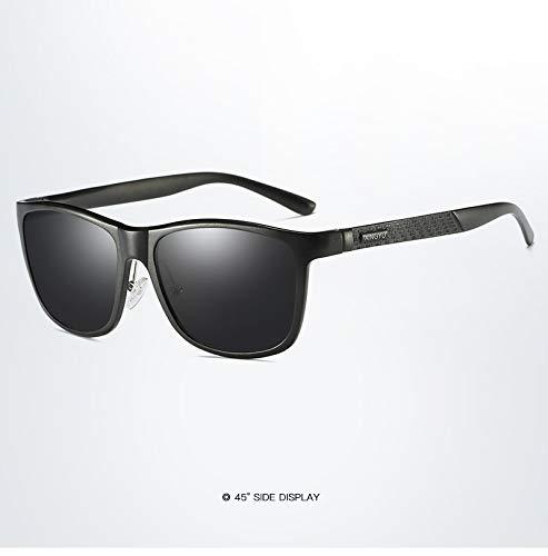 LKVNHP Marke Vintage Style Sonnenbrille Männer Uv400 Classic Male Square Brille Fahren Travel Eyewear UnisexSchwarz-Schwarz