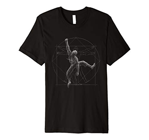 Klettern Bouldern | Freeclimber Vitruvianischer Mensch Shirt (Shirt Klettern)