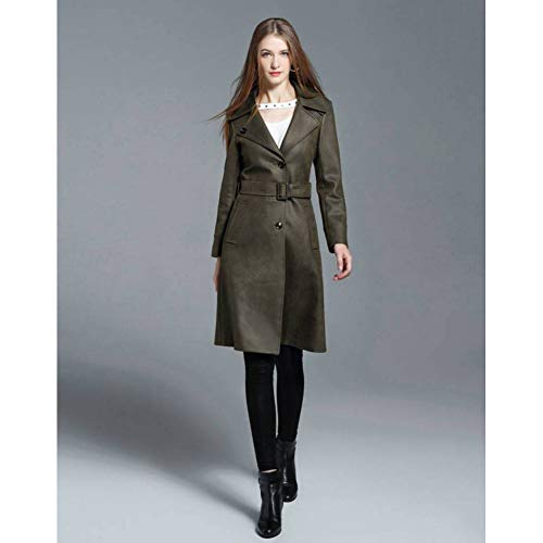 MEJEJO Brand England Woman Fashion Langer Trenchcoat Schwarz Einreiher PEA Coat Womens Slim Fit Outwear-Army Green,XL Trench Coat Peacoat