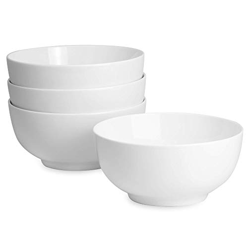 Set mit 4 Schüsseln aus Porzellan 600ml | Qualitativ hochwertige weiße Schalen | Perfekt für Desserts, Frühstück & Suppen | Spülmaschine, Mikrowelle & Ofen Safe | M&W