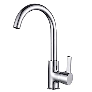 Kitchen Sink Taps Mixers Monobloc Modern Single Lever Chrome Brass Swivel Spout with Hoses