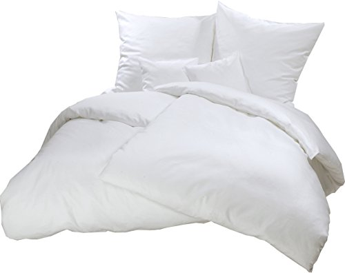 """Biber Bettwäsche-Set """"Pura"""" 155x220 cm uni weiß - Bettdecke- und Kopfkissen-Bezug aus Flanell-Baumwolle mit Reißverschluss, Kuschelig warm im Winter - Übergröße-n Bett-Bezug"""