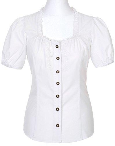 Spieth & Wensky - Kurzarm Trachten Bluse in Weiß, Darwin (261460-0834), Größe:48;Farbe:Weiß (2014 )