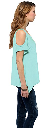 Urban GoCo Femmes Casual Grande Taille Hors épaule T-Shirt V-col Manches Courtes Tops Turquoise
