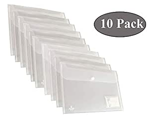 DishanKart 10 Pack A4 Document File Bag, Transparent Envelope Holder Storage Case, Snap Button Organizer, My Clear Plastic Container