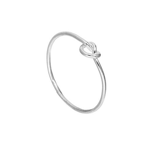 Anello in argento sterling con cuore a nodo, regalo di fidanzamento, misura 10