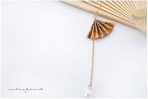 (baijuxing Hand-Ohrstecker 925 Silber Origami Fan Papier Kran Gelb Elegante Einzigartige Ohrringe und Wind Geschenk)