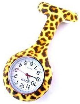 Leopard-Druck Krankenschwestern Silikon Tunika Brosche Taschenuhr Boolavard® TM