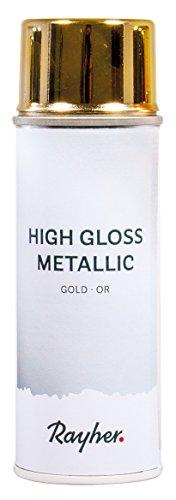 Rayher 34424616 High gloss Metallic Spray, gold, Dose 200 ml, hochglänzender Metallic-Effektspray, Acrylspray für Metalleffekte, für den Innenbereich -