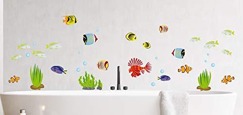 Mabi-IN-Design Fische Wandtattoo Wandsticker Aquarium Wandbild Badezimmer Meer Meerestiere A103