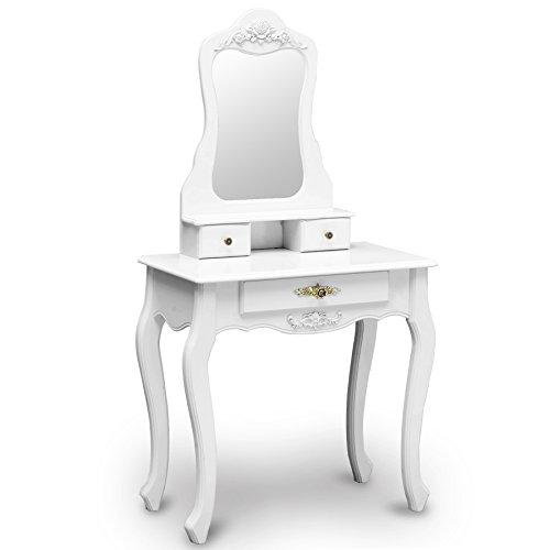 Tocador estilo barroco moderno clásico vintage. Color blanco con cajones.