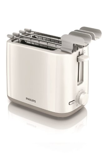Philips Daily Collection HD2597/00 - Tostapane 650 W compatto con 2 fessure e riscaldamento, Bianco