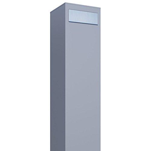 Standbriefkasten, Design Briefkasten Monolith Grau Metallic/Edelstahl - Bravios - Metallic Pulverbeschichtet