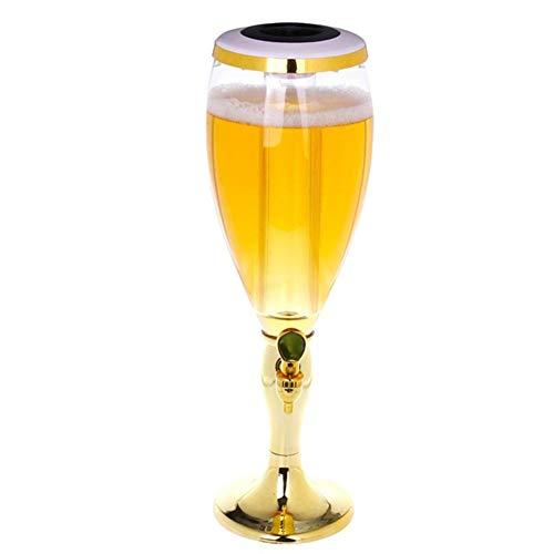 HOUSHIYU-521 3 L Plastikbier Spender, Cold Draft Beer Tower Getränkespender Mit Wasserhahn Und Gefrierrohr, Leicht Zu Reinigen, Für Party, Zuhause Und Bar,Gold - Fass Draft Beer