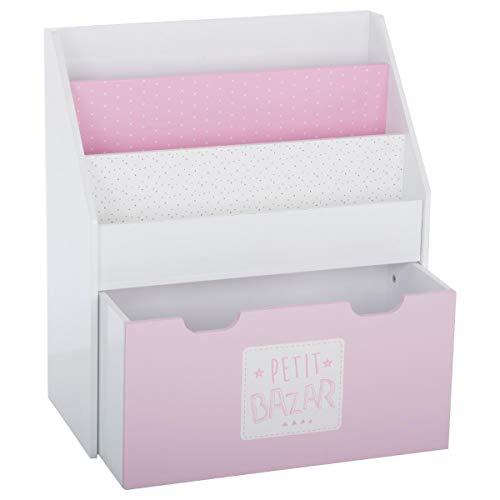2 in 1: Bücherregal + Kiste mit Stauraum aus Holz, für Kinder – Farbe ROSA und WEIß (Bücherregal Spielzimmer)