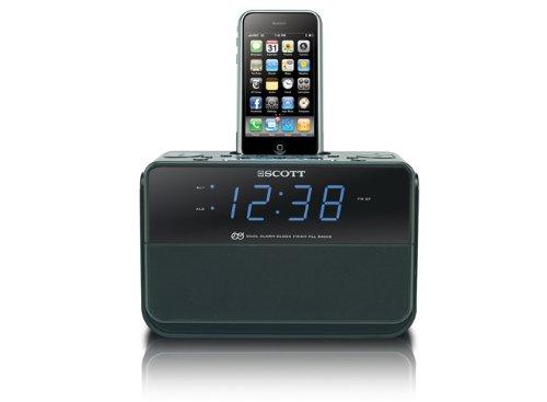 Scott i-CSX 15 Radiowecker für I-Pod und speziell I-Phone Ladefunktion (AM/FM-Tuner, 2 Weckzeiten) schwarz (Am-fm-radiowecker Für Iphone)