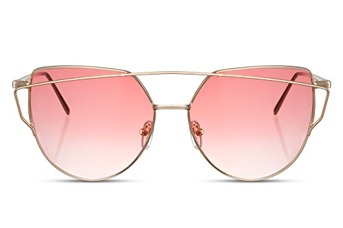 Cheapass Sonnenbrille Damen Rund-e Cat-Eye Gold-en Rosa Pink UV-400 Metall Frauen