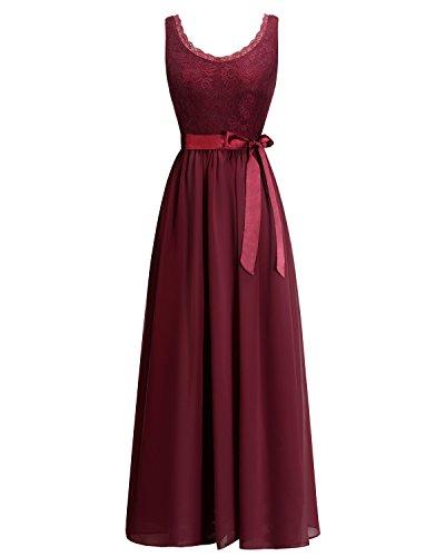 Timormode TM10168 Chiffon Kleid mit Spitzen Maxikleid Lang Brautjungfernkleid Ärmellos Burgundy XL