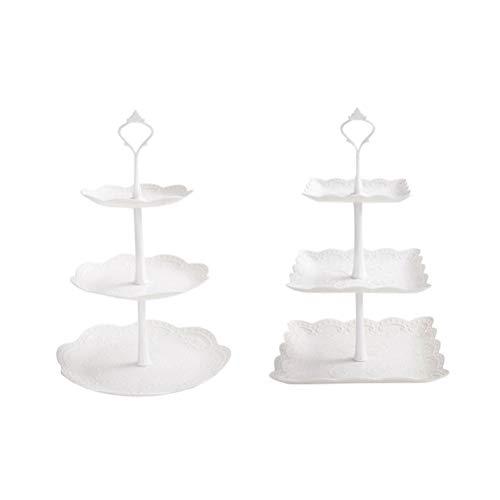 3-tier-dessert (BESTONZON 2ST 3-Tier Cupcake Stand, Party Essen Server Display Set, Dessert Stand, perfekt für Ihre Tea Party, Baby-Dusche, Geburtstag Hochzeit Dekoration)