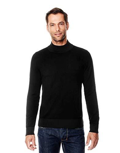 Vincenzo Boretti Herren-Pullover Steh-Kragen Slim-fit tailliert Strick-Pullover einfarbig Baumwolle-Mix edel elegant leicht Fein-Strick für Business oder Casual schwarz M -