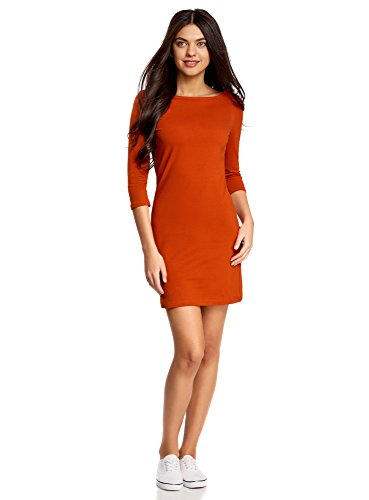oodji Ultra Damen Jersey-Kleid Basic, Orange, DE 38 / EU 40 / M