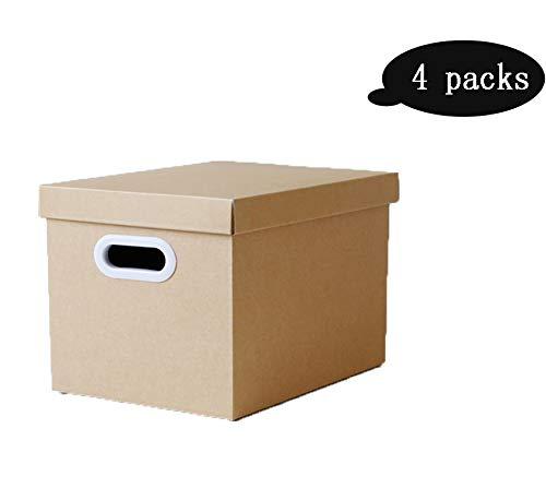 LHY SAVE Boite Carton Extra Large Ondulé Boîtes De Déménagement Boîte De Rangement avec Couvercle avec Poigné pour La Maison, Le Bureau, Le Déménagement,Documents, Jouets, Vêtements, 4 Paquets,L