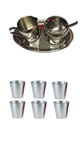 Milch-Zucker Set 15 x 11cm, H: 6,5cm, 18/10 Edelstahl, Tablett oval, mit Sahnegießer und Zuckerdose inkl. Löffel + Tassen mit Henkel aus Glas Spülmaschinenfest 6er Set 80cc silber
