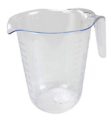 Bambelaa! caraffa graduata da 1 l, in plastica, trasparente, varie scale, per farina, zucchero, acqua, lavabile in lavastoviglie