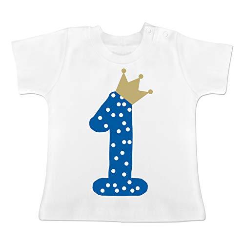 Geburtstag Baby - 1. Geburtstag Krone Junge Erster - 12-18 Monate - Weiß - BZ02 - Baby T-Shirt Kurzarm -
