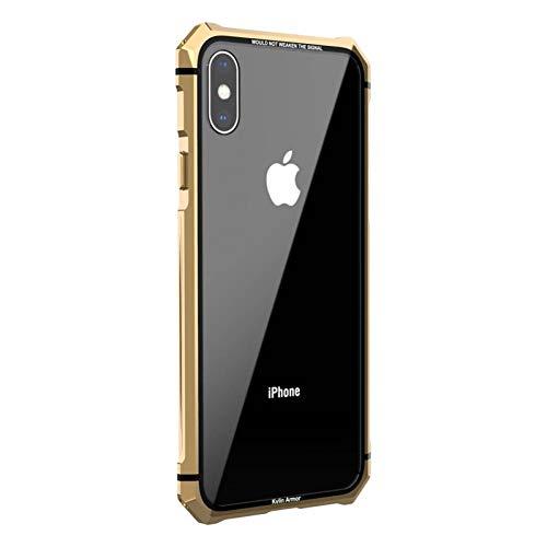 HANSHUO Telefon-Kasten Für iPhone x xs max xr case transparent zurück gehärtetes Glas Schutz stoßstange Metall Schraube Handy case zubehör (Metall Telefon-kasten Iphone 5)