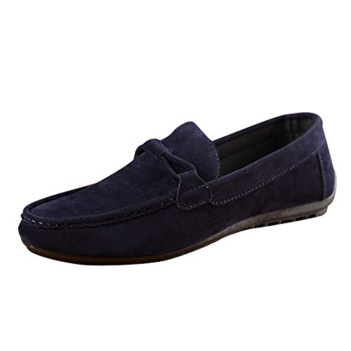 Yearnly Herren Klassisch Ursprüngliches Wildleder Penny Halbschuhe Komfort Fahrende Schuhe Schlüpfen Niederung Slippers Hausschuhe Schwarz Blau Grau
